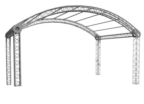 Varia Rundbogenbühne, 6x4m Grundfläche, Außenmaß (LxBxH): 7.21x4.59x3.97m