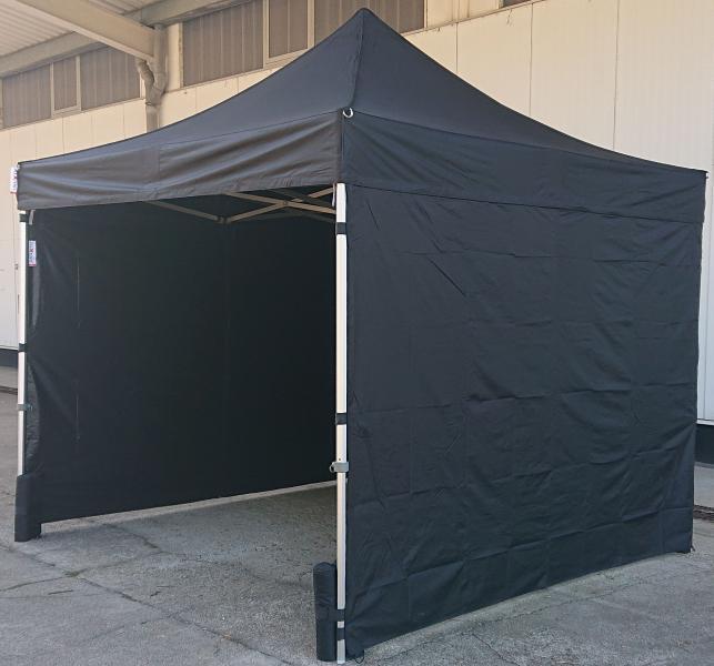 Faltzelt 3x3m, schwarz inkl. Seitenwänden, Zeltnägeln, Sandbags
